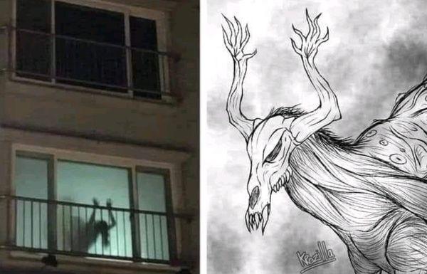 Una extraña criatura asoma por la ventana.
